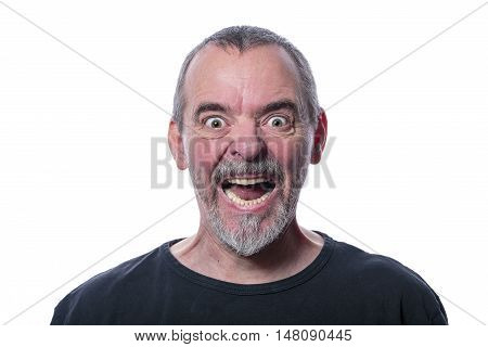 Screaming Man With Beard, Isolated On White