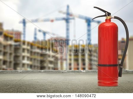 Fire Extinguisher On Buildings And Cranes Background