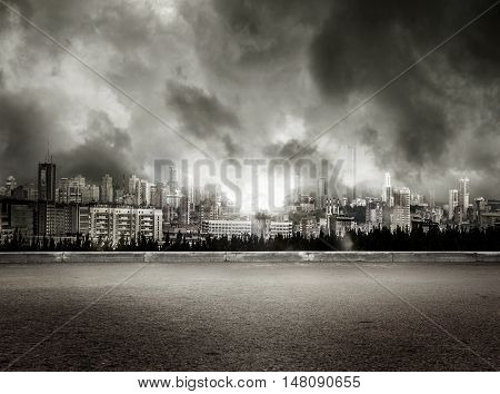 View Of City On Stormy Sky Background