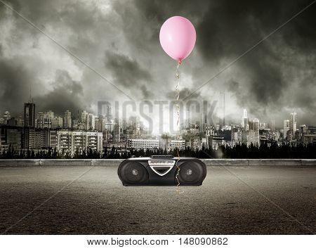 Stereo Tape Recorder And Red Balloon On Storm