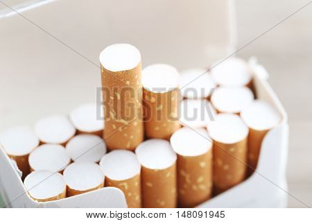 The Open pack of cigarettes, close up