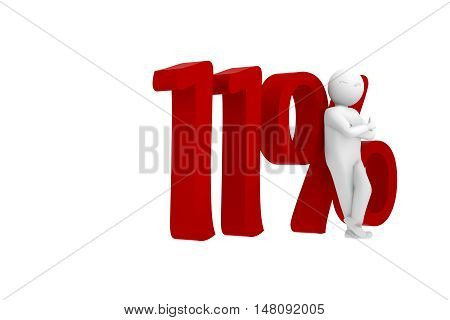 3D Human Leans Against A Red 11%