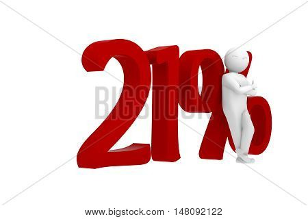 3D Human Leans Against A Red 21%