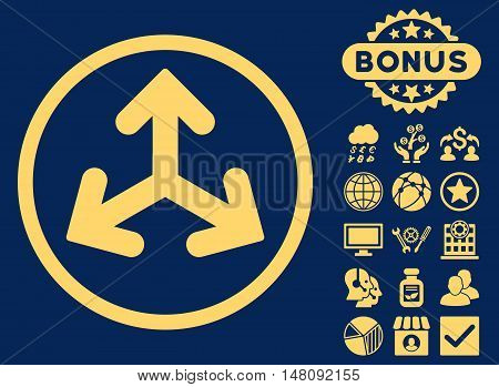 Direction Variants icon with bonus symbols. Vector illustration style is flat iconic symbols yellow color blue background.