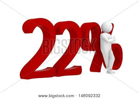 3D Human Leans Against A Red 22%