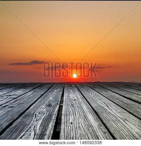 Rostrum Made Of Wooden Planks On Sunset