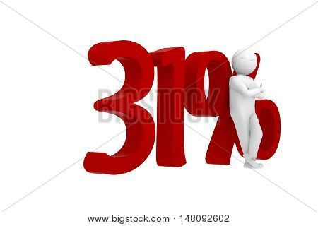 3D Human Leans Against A Red 31%