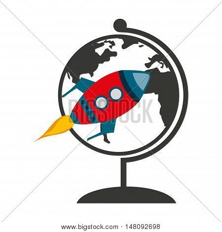 world planet with rocket launcher vector illustration design