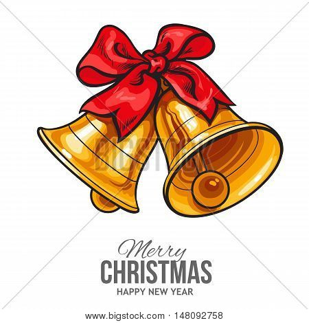 Golden Christmas bells with a red bow, vector greeting card. Traditional pair of Xmas bells with a red ribbon, decoration element, Christmas greeting card template