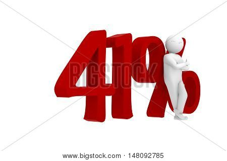 3D Human Leans Against A Red 41%