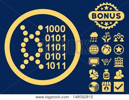 DNA Code icon with bonus design elements. Vector illustration style is flat iconic symbols yellow color blue background.