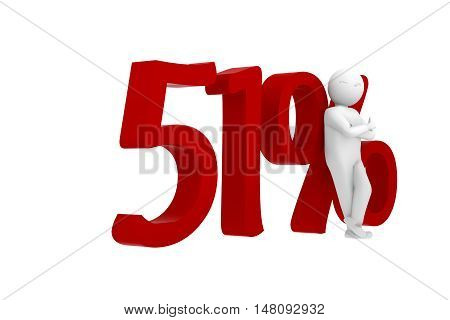 3D Human Leans Against A Red 51%