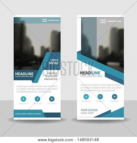 Blue Business Roll Up Banner flat design template Abstract Geometric banner template Vector illustration set abstract presentation brochure flyer template vertical template vector