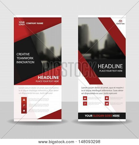 Red black roll up business brochure flyer banner design cover presentation abstract geometric background modern publication x-banner and flag-banner layout in rectangle size.