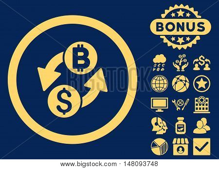 Dollar Bitcoin Exchange icon with bonus design elements. Vector illustration style is flat iconic symbols yellow color blue background.