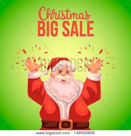 Cartoon style Santa Claus making fireworks, Christmas vector sale banner, green background, text at the top. Half length portrait of Santa declaring a sale, Christmas sale banner template