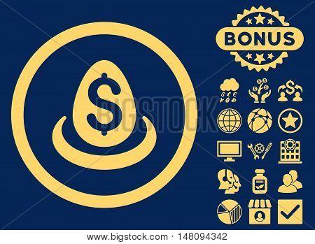 Dollar Deposit Egg icon with bonus design elements. Vector illustration style is flat iconic symbols yellow color blue background.