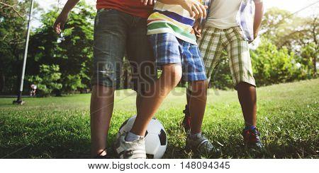 Soccer Friends Boys Playful Nature Offspring Concept