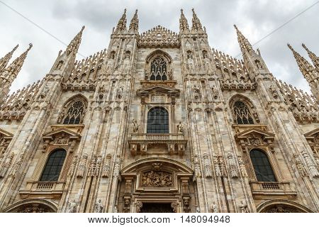 Duomo Cathedral In Milan Front View