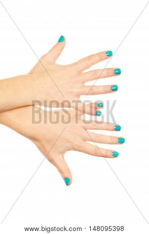 Female hand gestures on a white background