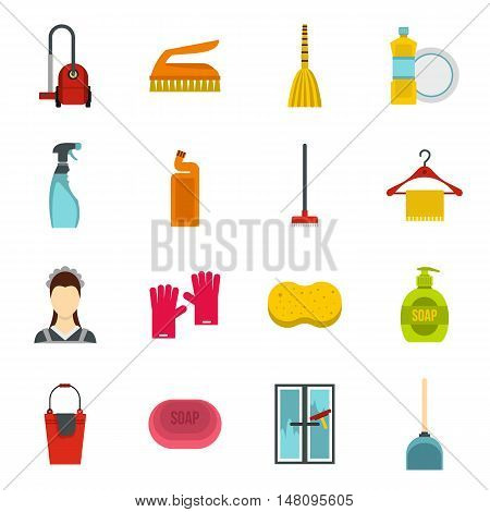 House cleaning icons set in flat style. Maid service set collection vector illustration