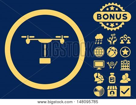 Drone Shipment icon with bonus pictogram. Vector illustration style is flat iconic symbols yellow color blue background.