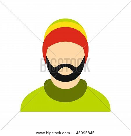 Man wearing rastafarian hat icon in flat style on a white background vector illustration