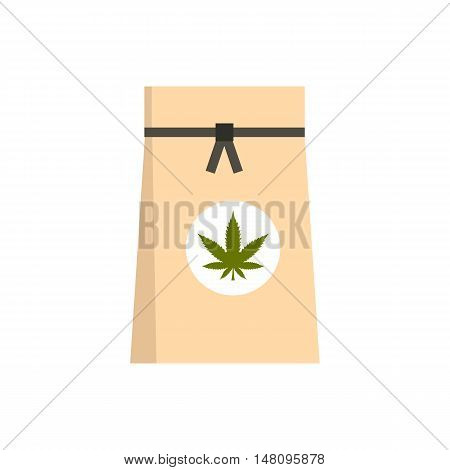 Paper bag of medical marijuana icon in flat style on a white background vector illustration