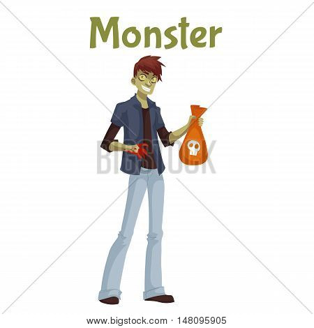Man dressed in monster costume for Halloween, cartoon style illustration isolated on white background. Monster, zombie, Frankenstein fancy dress for Halloween carnival