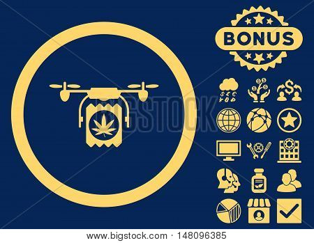 Drugs Drone Delivery icon with bonus images. Vector illustration style is flat iconic symbols yellow color blue background.
