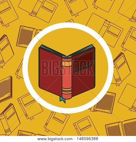 Book inside button. Education learning and reading theme. Colorful design. Vector illustration