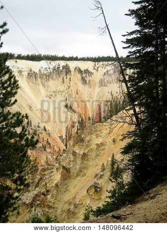 Vertical rock outcrop of the Grand Canyon of the Yellowstone (Wyoming, USA)