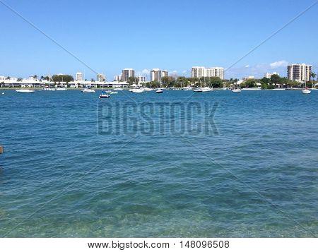 south florida ocean with high rise condominium buildings