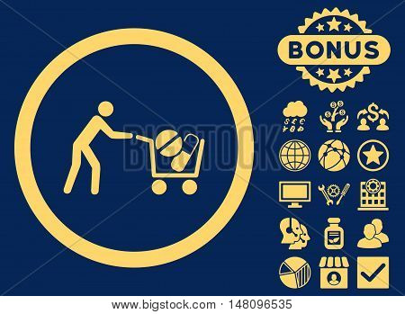 Drugs Shopping Cart icon with bonus elements. Vector illustration style is flat iconic symbols yellow color blue background.