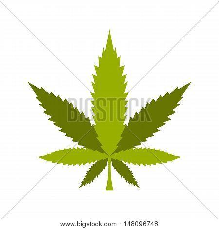 Marijuana leaf icon in flat style on a white background vector illustration
