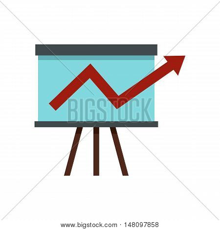 Business growing chart presentation icon in flat style on a white background vector illustration