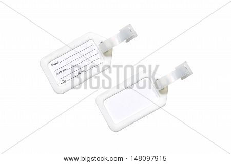 close up top view set of blank & non blank badge name tag isolated on white background