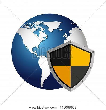world planet with shield guard icon vector illustration design