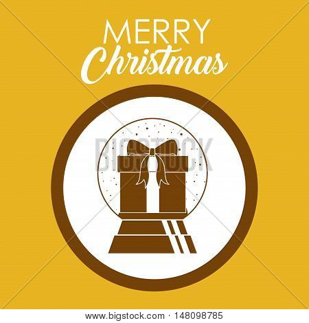 Gift inside circle icon. Merry Christmas season and decoration theme. Colorful design. Vector illustration