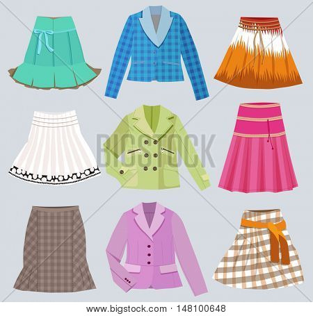 fashion clothes isolated on white background (vector illustration)