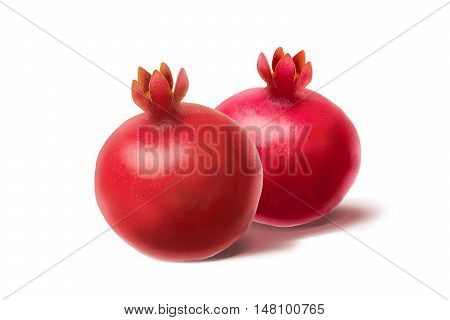 Pomegranates on white background. Rimon illustration. Shana Tova, pomegranate, Shofar, Yom Kippur, Sukkot, Jewish new year, Jewish holidays. Israel, traditional fruit. Seven fruits, Seven Species.