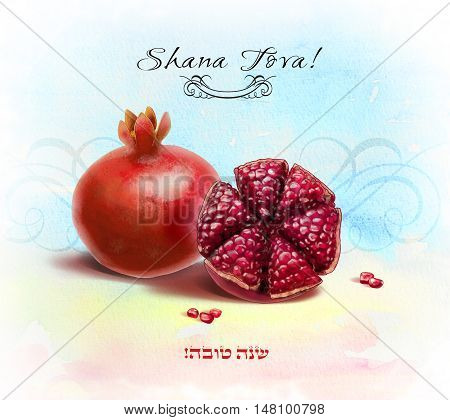 Shana Tova! Happy New Year in Hebrew. Greeting card with Pomegranates. Watercolor Pomegranate seeds, Sliced -  Rosh Hashanah Jewish New Year, Jewish holidays Israel. Shofar, Yom Kippur, Sukkot, Jewish new year, traditional fruit. Seven fruits, Seven Speci