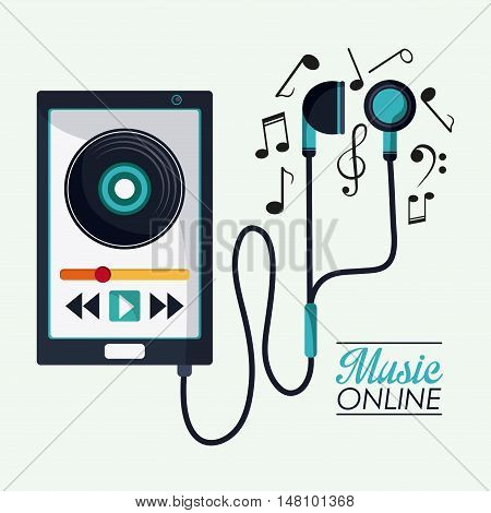 Smartphone music note and headphone icon. Music online and media  theme. Colorful design. Vector illustration