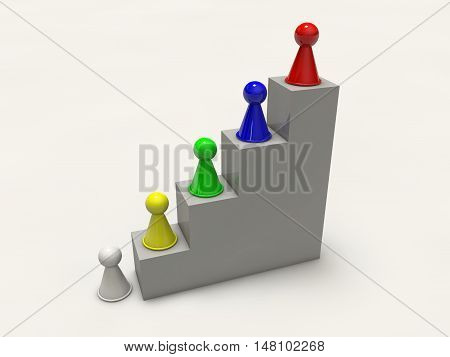 game board figures climbing up career ladder 3d rendering