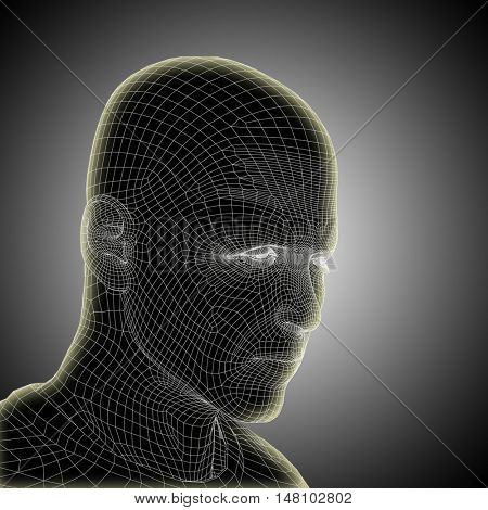 Concept or conceptual 3D illustration wireframe young human male or man face or head glowing on gray background