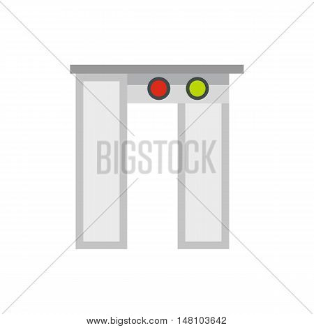 Security gates with metal detector and scanner icon in flat style on a white background vector illustration