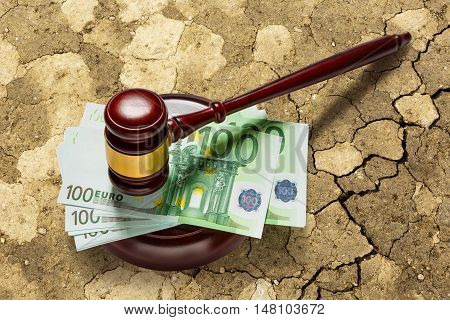 Judge's Gavel And One Hundred Euro Banknotes