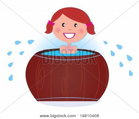 A Girl Soaking In Cold Barrel Tub After Sauna.