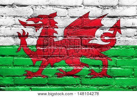 Flag Of Wales, Uk, Painted On Brick Wall