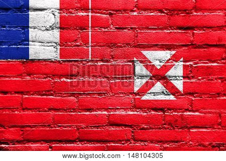 Flag Of Wallis And Futuna, Painted On Brick Wall